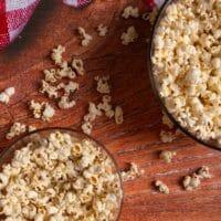 Microwave popcorn in glass bowl